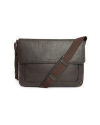 Le Tanneur Brown Bruno Grained Leather Shoulder Bag