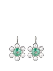 Nsr Nina Runsdorf Diamond Emerald And White Gold Earrings White Gold
