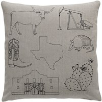 K Studio Texas Pillow Small 18 X 18 Gray
