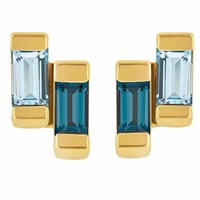 Neola Anais Gold Stud Earring With London And Blue Topaz