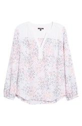 Nydj Split Collar Peasant Top Delicate Fleur Optic White
