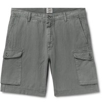 Faherty Wide Leg Linen And Cotton Blend Cargo Shorts Charcoal