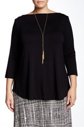 Rachel Pally Caleb Boatneck Blouse Plus Size Black