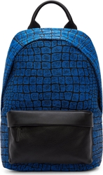 Mcq By Alexander Mcqueen Electric Blue And Black Leather Woven Motif Backpack