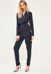 Missguided Tall Exclusive Navy Wrap Front Jumpsuit
