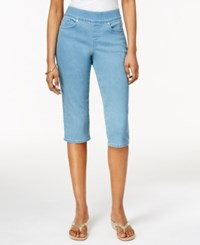 Styleandco. Style And Co. Petite Pull On Dark Wash Capri Jeans Only At Macy's Acid Rinse