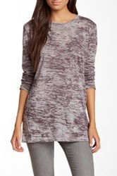 Go Couture Long Sleeve Crew Neck Burnout Tee Brown