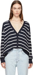 Alexander Wang T By Navy And White Relaxed Stripe Cardigan