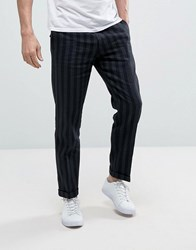 Sisley Cropped Trousers In Slim Fit And Stripe Navy