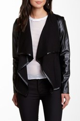 Vakko Ponte Faux Leather Sleeve Jacket Black
