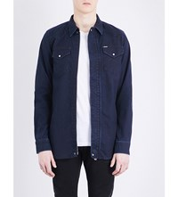 Diesel Jaden Joggjean Stretch Cotton Shirt Denim Blue