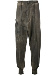 Lost And Found Rooms Overdyed Drop Crotch Joggers Brown