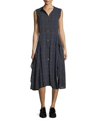 Public School Cassidy Sleeveless Button Front Plaid Dress Navy