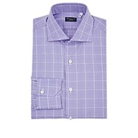 Finamore Glen Plaid Cotton Dress Shirt Purple