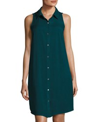 Three Dots Sleeveless Button Front Twill Shirtdress Teal