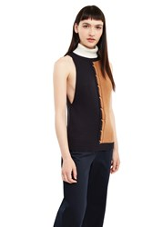 Esprit By Opening Ceremony Sleeveless Cable Knit Turtleneck Top Brown Multi