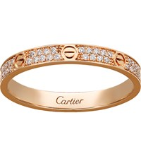 Cartier Love 18Ct Pink Gold And Diamond Ring Pink Gold Diamond
