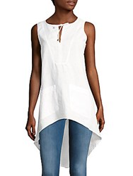 August Silk Solid High Low Tunic White