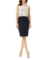 Phase Eight Fitzroy Crochet Bodice Dress Navy Cream