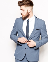 Asos Skinny Fit Suit Jacket With Tipping Blue