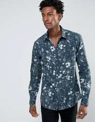 Noose And Monkey Skinny Shirt In All Over Floral Print Green