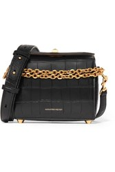 Alexander Mcqueen Box Bag 19 Croc Effect Leather Shoulder Bag Black