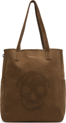 Alexander Mcqueen Olive Drab Suede Perforated Skull Tote
