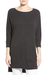 Women's Caslon Novelty Stitch Dolman Sleeve Tunic Sweater Heather Charcoal