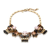 J.Crew Tortoise Crystal Necklace Shell Pink