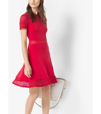 Stretch Crepe Mesh Panel Dress True Red