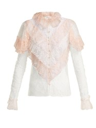 Rodarte Ruffled Lace Blouse Pink Multi