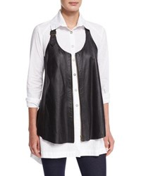 Xcvi Upstage Perforated Leather Vest Plus Size Black