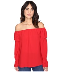 Nicole Miller Off The Shoulder Poly Top Red Women's Clothing