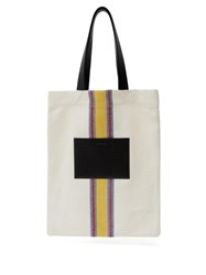 Jil Sander Striped Canvas And Leather Tote Bag White Multi