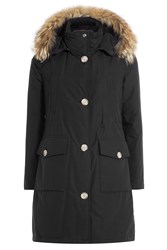 Woolrich Long Arctic Down Parka With Fur Trimmed Hood Black