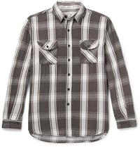 Orslow Oversized Checked Cotton Twill Overshirt Anthracite