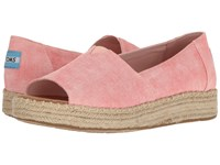 Toms Open Toe Platform Alpargata Coral Washed Twill Women's Toe Open Shoes Pink