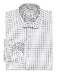 Bugatchi Shaped Fit Windowpane Cotton Dress Shirt Silver