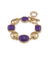 1St And Gorgeous Multi Shape Flex Toggle Bracelet Purple Gold Purple And Gold