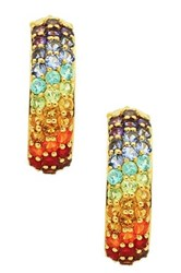 Olivia Leone 18K Yellow Gold Plating Sterling Silver Genuine Multi Gemstone Earrings