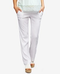 A Pea In The Pod Maternity Linen Blend Wide Leg Pants Corporate White