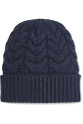 Jil Sander Cable Knit Wool Beanie Navy