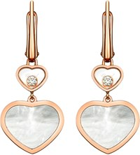 Chopard Happy Hearts 18Ct Rose Gold Diamond And Mother Of Pearl Earrings