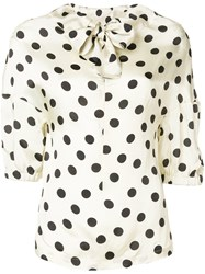 Hache Polka Dot Bow Tie Blouse Nude And Neutrals