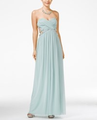 City Triangles City Studios Juniors' Jeweled Strapless Gown Pale Vintage Sage
