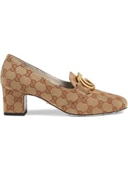 Gucci Gg Canvas Mid Heel Pump With Double G Neutrals