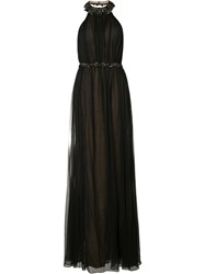 Marchesa Notte Beaded Halterneck Gown Black