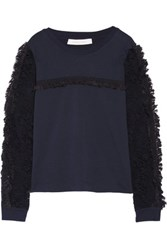 See By Chloe Ruffled Lace Paneled Cotton Jersey Top Storm Blue