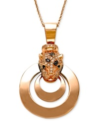 Effy Collection Effy Signature White Diamond 1 3 Ct. T.W. Black Diamond 1 4 Ct. T.W. And Emerald Accent Panther Pendant Necklace In 14K Rose Gold