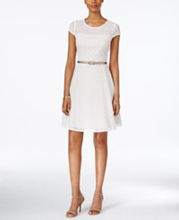 Jessica Howard Belted Lace A Line Dress White